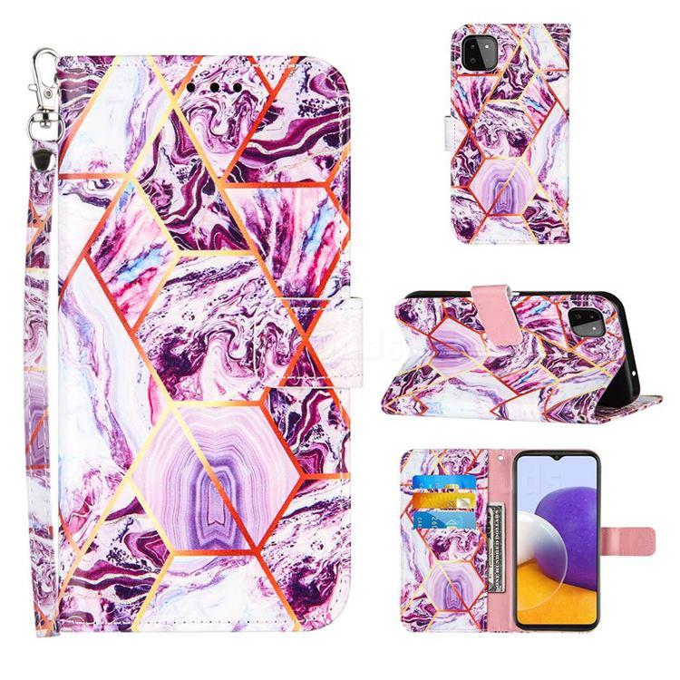 Dream Purple Stitching Color Marble Leather Wallet Case for Samsung Galaxy A22 5G