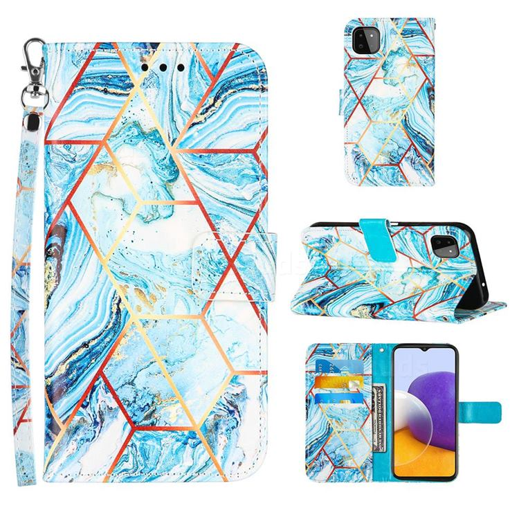 Lake Blue Stitching Color Marble Leather Wallet Case for Samsung Galaxy A22 5G