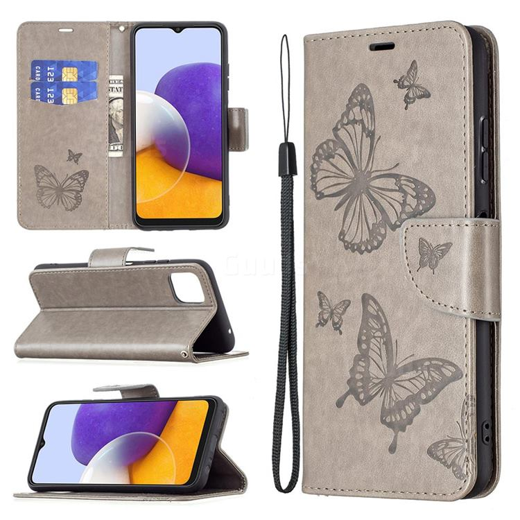 Embossing Double Butterfly Leather Wallet Case for Samsung Galaxy A22 5G - Gray