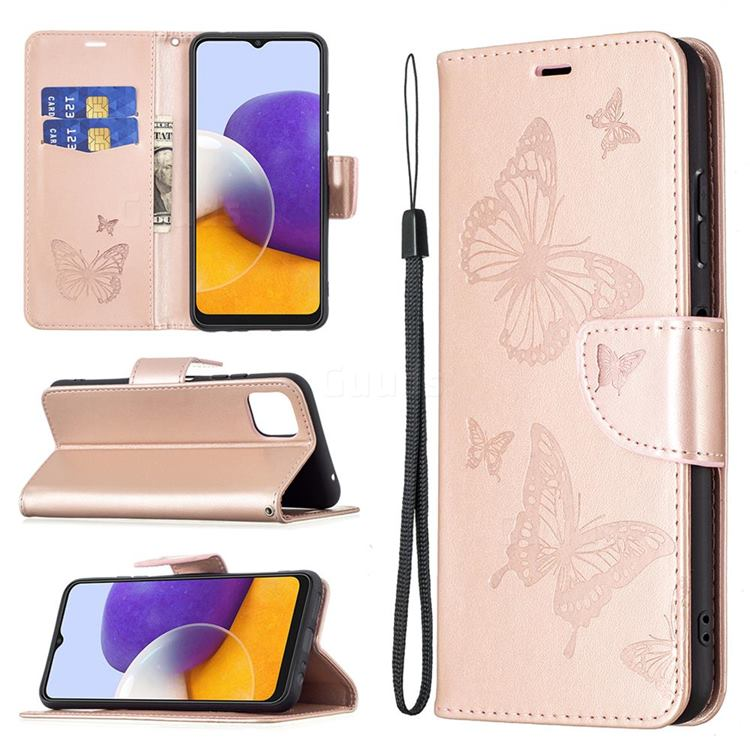 Embossing Double Butterfly Leather Wallet Case for Samsung Galaxy A22 5G - Rose Gold