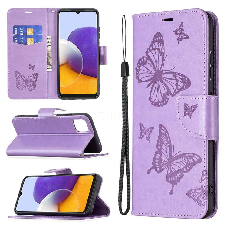 Embossing Double Butterfly Leather Wallet Case for Samsung Galaxy A22 5G - Purple