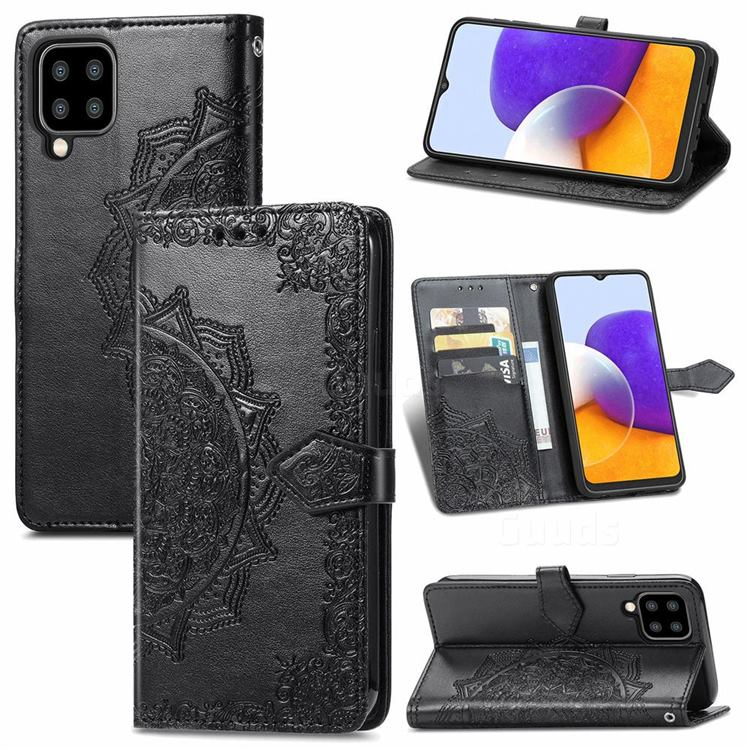 Embossing Imprint Mandala Flower Leather Wallet Case for Samsung Galaxy A22 5G - Black