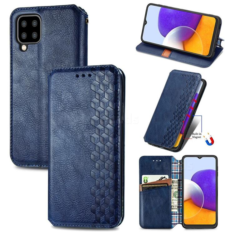 Ultra Slim Fashion Business Card Magnetic Automatic Suction Leather Flip Cover for Samsung Galaxy A22 5G - Dark Blue