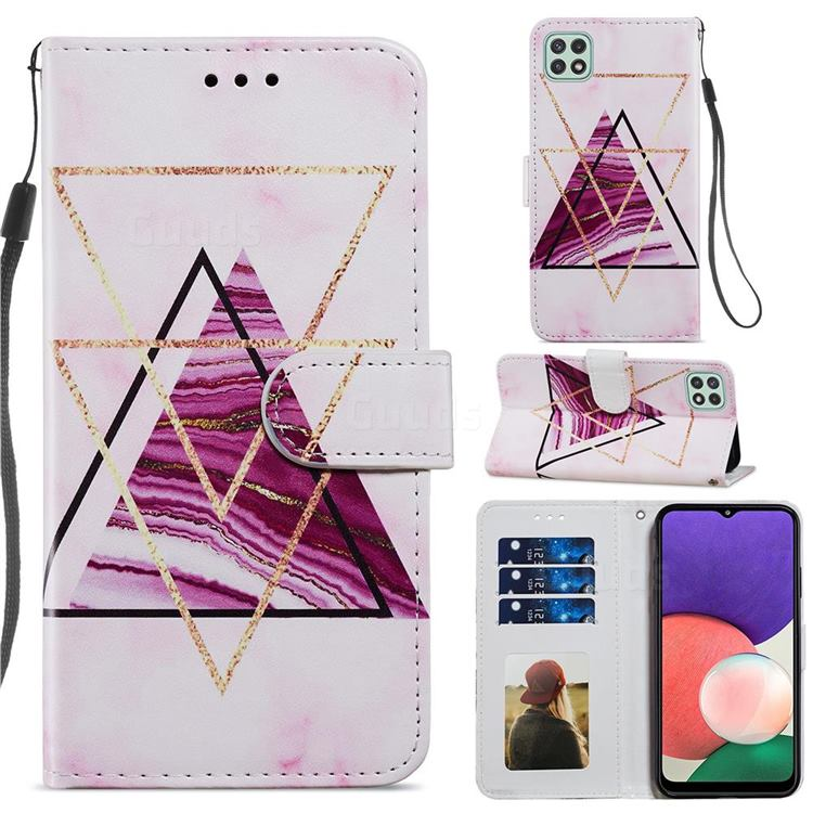 Three-color Marble Smooth Leather Phone Wallet Case for Samsung Galaxy A22 5G