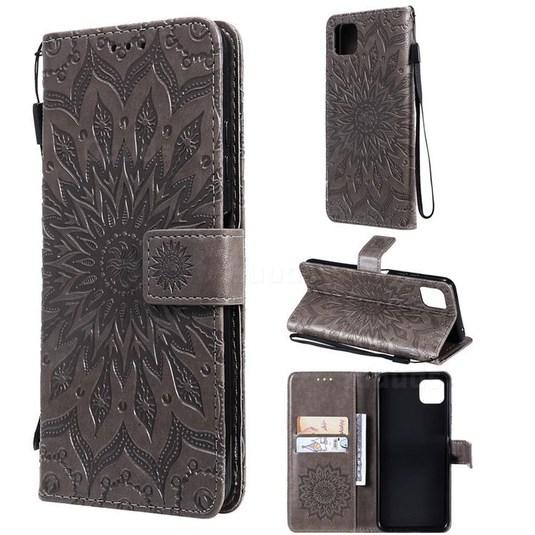 Embossing Sunflower Leather Wallet Case for Samsung Galaxy A22 5G - Gray