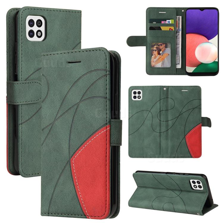 Luxury Two-color Stitching Leather Wallet Case Cover for Samsung Galaxy A22 5G - Green