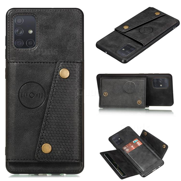 Retro Multifunction Card Slots Stand Leather Coated Phone Back Cover for Samsung Galaxy A22 5G - Black