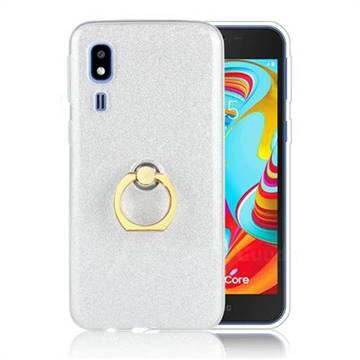 Luxury Soft TPU Glitter Back Ring Cover with 360 Rotate Finger Holder Buckle for Samsung Galaxy A2 Core - White