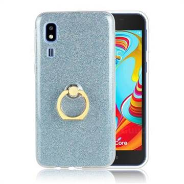Luxury Soft TPU Glitter Back Ring Cover with 360 Rotate Finger Holder Buckle for Samsung Galaxy A2 Core - Blue