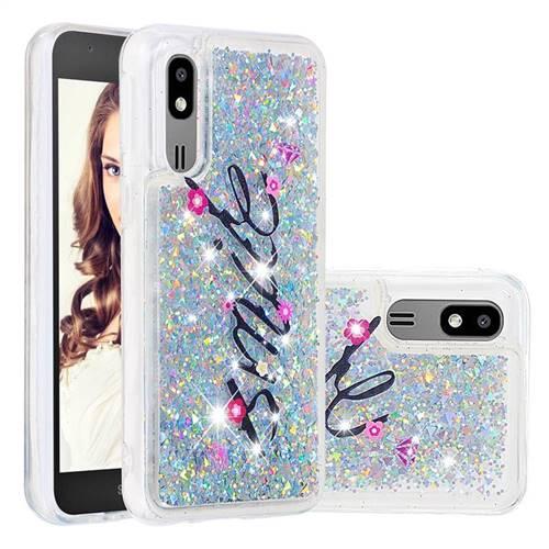 Smile Flower Dynamic Liquid Glitter Quicksand Soft TPU Case for Samsung Galaxy A2 Core