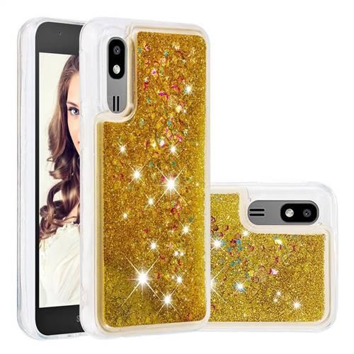 Dynamic Liquid Glitter Quicksand Sequins TPU Phone Case for Samsung Galaxy A2 Core - Golden