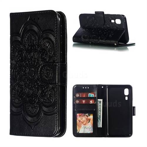 Intricate Embossing Datura Solar Leather Wallet Case for Samsung Galaxy A2 Core - Black