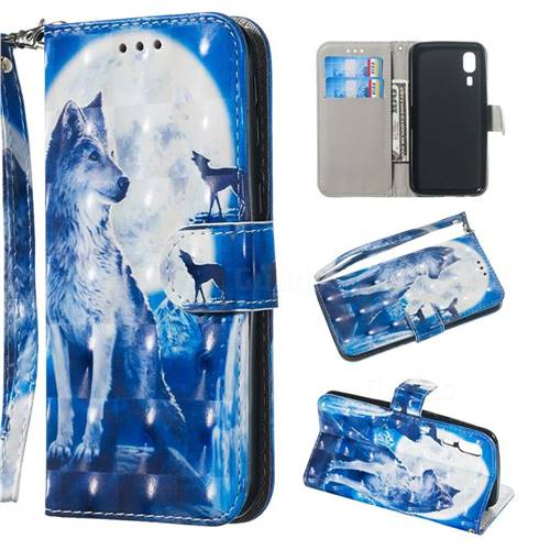 Ice Wolf 3D Painted Leather Wallet Phone Case for Samsung Galaxy A2 Core