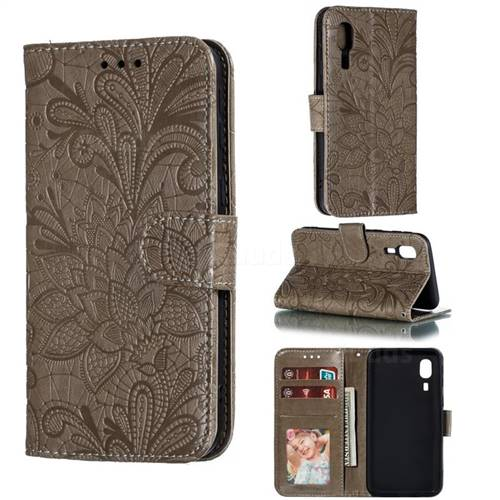 Intricate Embossing Lace Jasmine Flower Leather Wallet Case for Samsung Galaxy A2 Core - Gray