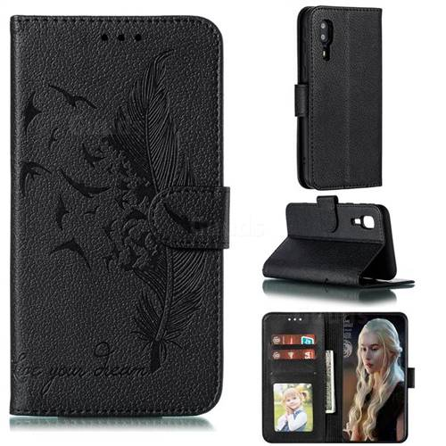 Intricate Embossing Lychee Feather Bird Leather Wallet Case for Samsung Galaxy A2 Core - Black