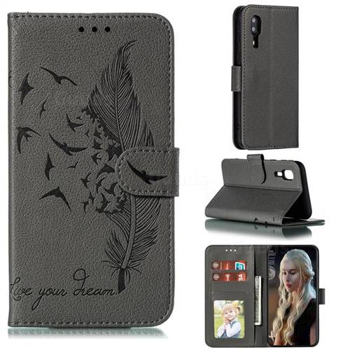 Intricate Embossing Lychee Feather Bird Leather Wallet Case for Samsung Galaxy A2 Core - Gray