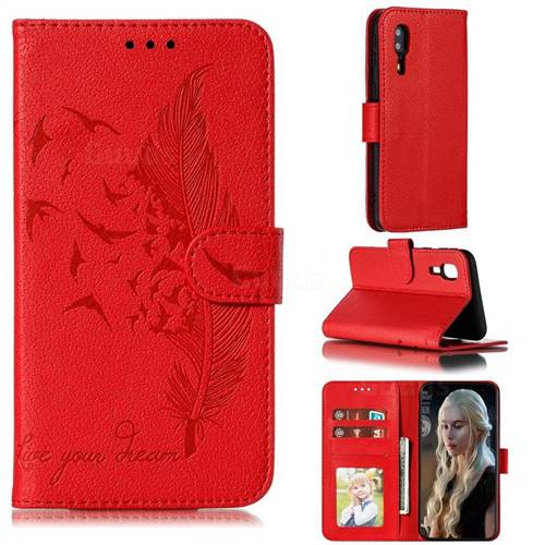 Intricate Embossing Lychee Feather Bird Leather Wallet Case for Samsung Galaxy A2 Core - Red