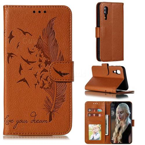Intricate Embossing Lychee Feather Bird Leather Wallet Case for Samsung Galaxy A2 Core - Brown