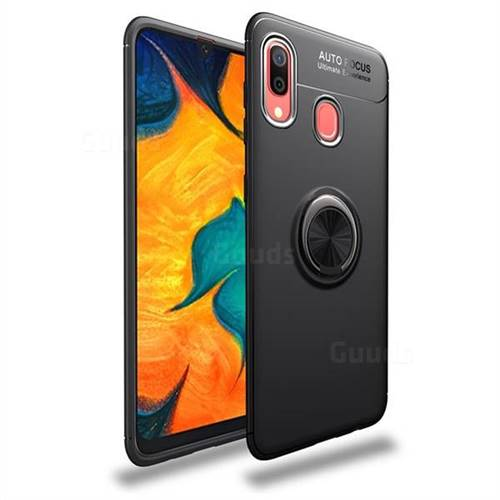 Auto Focus Invisible Ring Holder Soft Phone Case for Samsung Galaxy A30 - Black