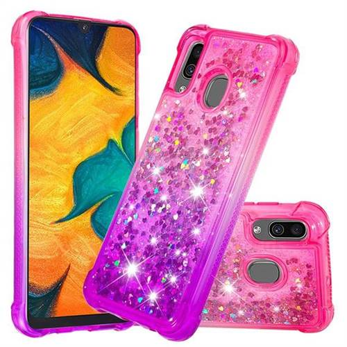Rainbow Gradient Liquid Glitter Quicksand Sequins Phone Case for Samsung Galaxy A30 - Pink Purple