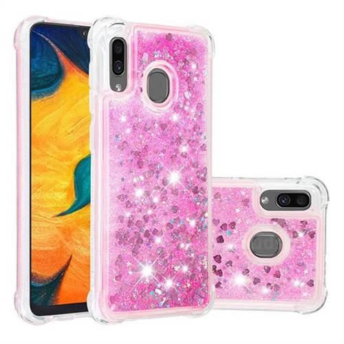 Dynamic Liquid Glitter Sand Quicksand TPU Case for Samsung Galaxy A30 - Pink Love Heart