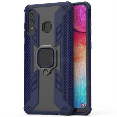 Predator Armor Metal Ring Grip Shockproof Dual Layer Rugged Hard Cover for Samsung Galaxy A30 - Blue