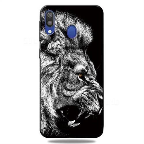 Lion 3D Embossed Relief Black TPU Cell Phone Back Cover for Samsung Galaxy A30