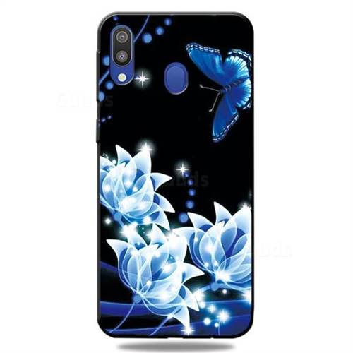 Blue Butterfly 3D Embossed Relief Black TPU Cell Phone Back Cover for Samsung Galaxy A30