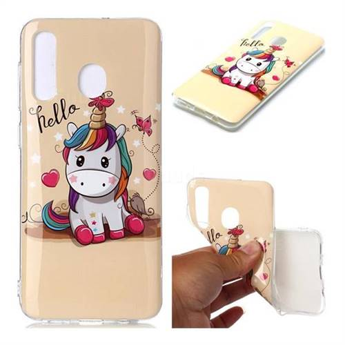 Hello Unicorn Soft TPU Cell Phone Back Cover for Samsung Galaxy A30