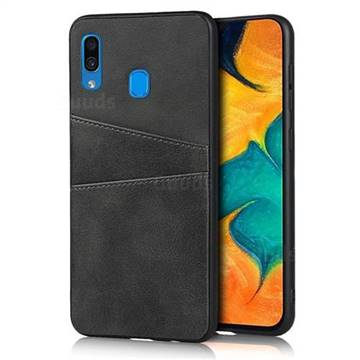 Simple Calf Card Slots Mobile Phone Back Cover for Samsung Galaxy A30 - Black