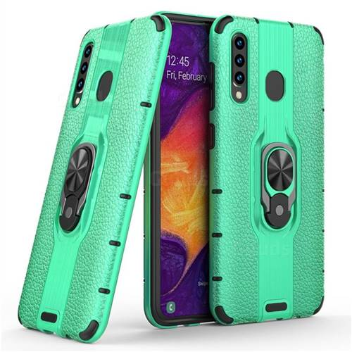 Alita Battle Angel Armor Metal Ring Grip Shockproof Dual Layer Rugged Hard Cover for Samsung Galaxy A30 - Green
