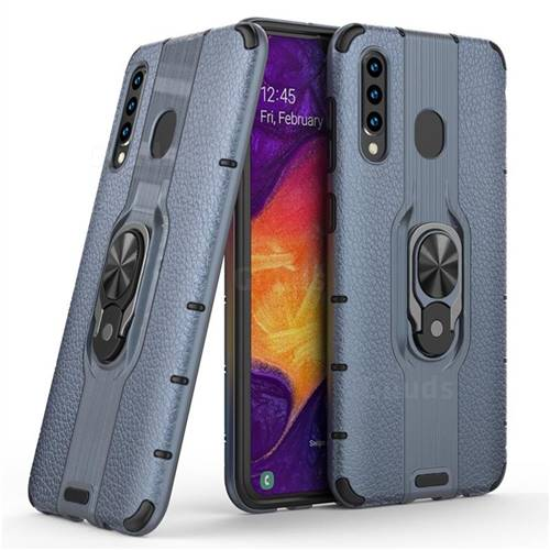 Alita Battle Angel Armor Metal Ring Grip Shockproof Dual Layer Rugged Hard Cover for Samsung Galaxy A30 - Blue