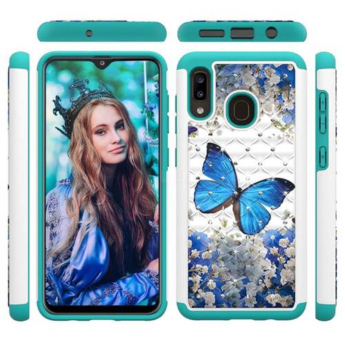 Flower Butterfly Studded Rhinestone Bling Diamond Shock Absorbing Hybrid Defender Rugged Phone Case Cover for Samsung Galaxy A30