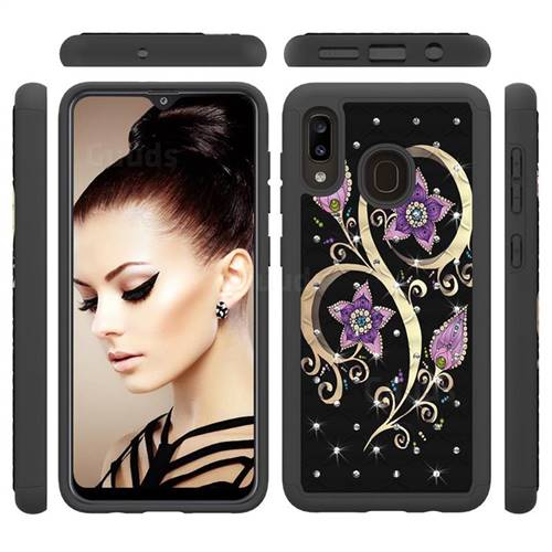 Peacock Flower Studded Rhinestone Bling Diamond Shock Absorbing Hybrid Defender Rugged Phone Case Cover for Samsung Galaxy A30