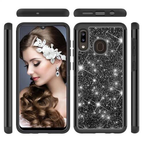 Glitter Rhinestone Bling Shock Absorbing Hybrid Defender Rugged Phone Case Cover for Samsung Galaxy A30 - Black