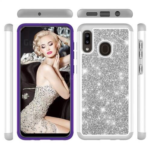 Glitter Rhinestone Bling Shock Absorbing Hybrid Defender Rugged Phone Case Cover for Samsung Galaxy A30 - Gray