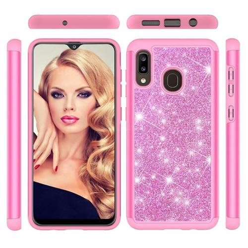 Glitter Rhinestone Bling Shock Absorbing Hybrid Defender Rugged Phone Case Cover for Samsung Galaxy A30 - Pink