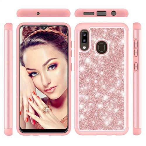 Glitter Rhinestone Bling Shock Absorbing Hybrid Defender Rugged Phone Case Cover for Samsung Galaxy A30 - Rose Gold