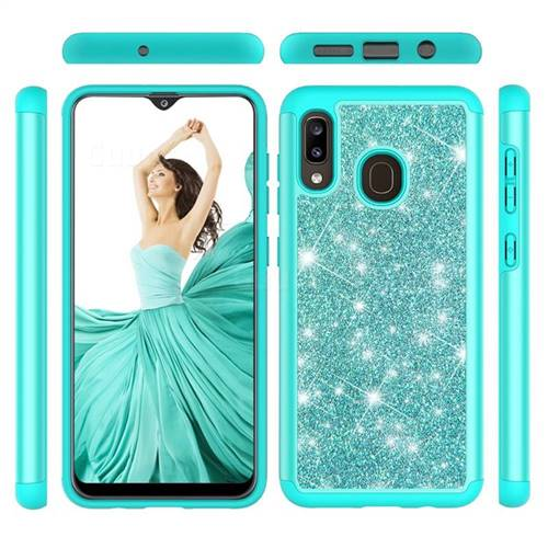 Glitter Rhinestone Bling Shock Absorbing Hybrid Defender Rugged Phone Case Cover for Samsung Galaxy A30 - Green