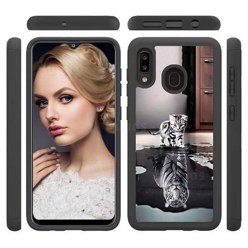 Cat and Tiger Shock Absorbing Hybrid Defender Rugged Phone Case Cover for Samsung Galaxy A30