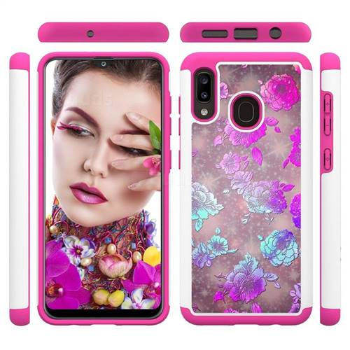 peony Flower Shock Absorbing Hybrid Defender Rugged Phone Case Cover for Samsung Galaxy A30