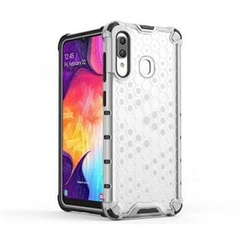 Honeycomb TPU + PC Hybrid Armor Shockproof Case Cover for Samsung Galaxy A30 - Transparent