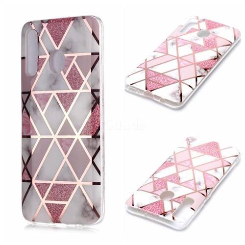 Pink Rhombus Galvanized Rose Gold Marble Phone Back Cover for Samsung Galaxy A30