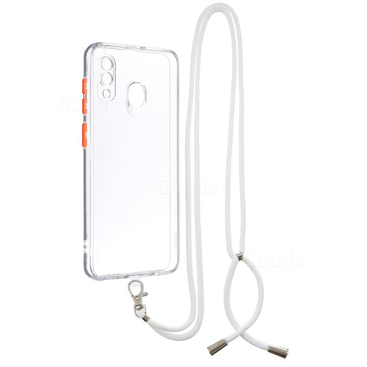 Necklace Cross-body Lanyard Strap Cord Phone Case Cover for Samsung Galaxy A30 - Transparent