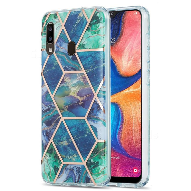 Blue Green Marble Pattern Galvanized Electroplating Protective Case Cover for Samsung Galaxy A30