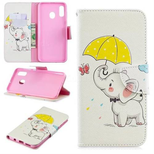 Umbrella Elephant Leather Wallet Case for Samsung Galaxy A30