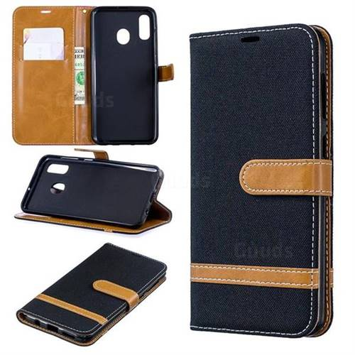 Jeans Cowboy Denim Leather Wallet Case for Samsung Galaxy A30 - Black