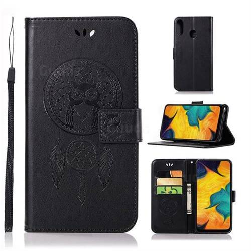 Intricate Embossing Owl Campanula Leather Wallet Case for Samsung Galaxy A30 - Black