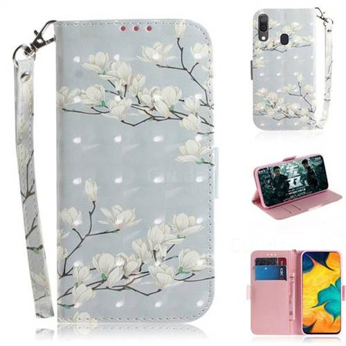 Magnolia Flower 3D Painted Leather Wallet Phone Case for Samsung Galaxy A30