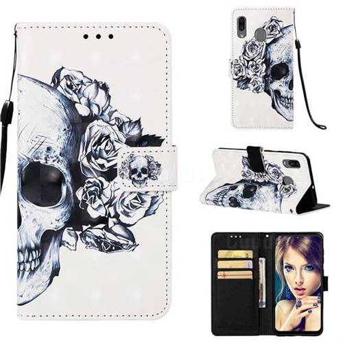 Skull Flower 3D Painted Leather Wallet Case for Samsung Galaxy A30
